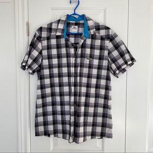 LACOSTE Cotton Short Sleeve Button Down Shirt